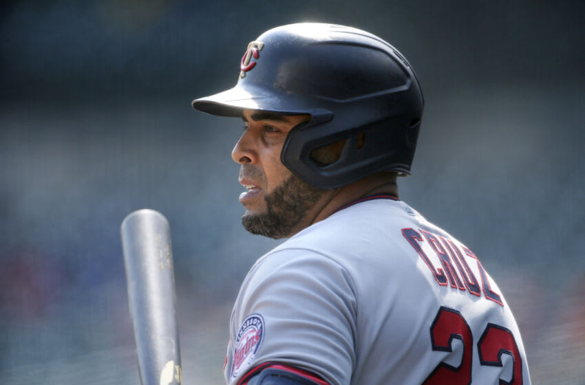 DETROIT, MI - APRIL 5: Nelson Cruz #23 of the Minnesota Twins waits to bat against the Detroit Tigers at Comerica Park on April 5, 2021, in Detroit, Michigan. (Photo by Duane Burleson/Getty Images)