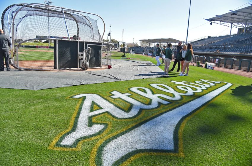 Feb 23, 2018; Mesa, AZ, USA; A general view of a logo on the field prior to the game between the Los Angeles Angels and the Oakland Athletics at Hohokam Stadium. Mandatory Credit: Jayne Kamin-Oncea-USA TODAY Sports