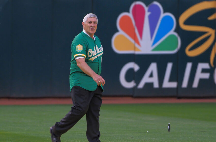 Mar 30, 2018; Oakland, CA, USA; Oakland Athletics retired player Ray Fosse during a presentation to recognize the 50th anniversary team at Oakland Coliseum. Mandatory Credit: Kelley L Cox-USA TODAY Sports