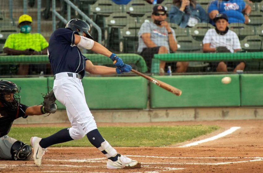 (6/4/21) Stockton Ports' Tyler Soderstrom hits a pop fly during a California League baseball game against the Lake Elsinore Storm at the Stockton Ballpark in downtown Stockton. Portsvsstorm 053a