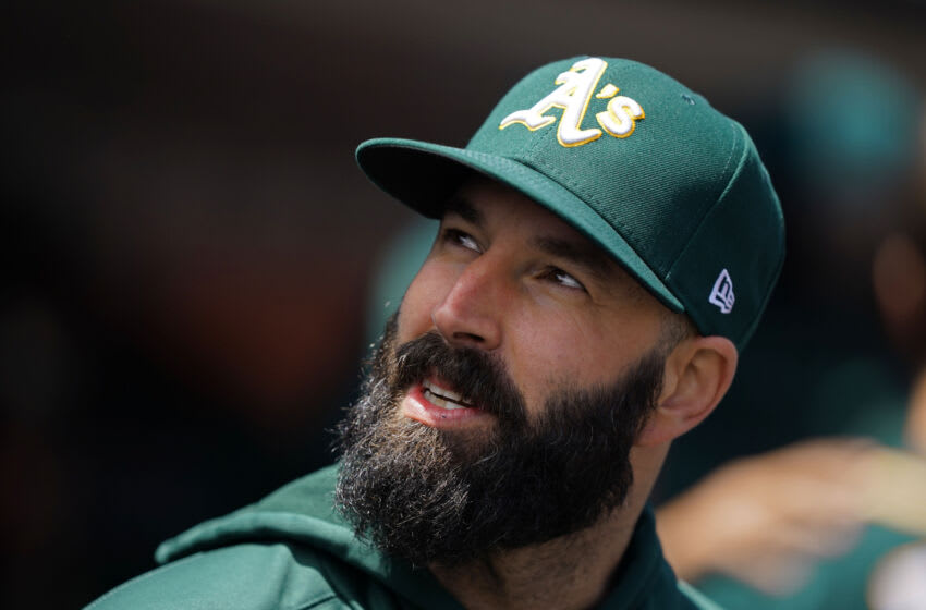 Jun 27, 2021; San Francisco, California, USA; Oakland Athletics starting pitcher Mike Fiers (50) stands in the dugout before the game against the San Francisco Giants at Oracle Park. Mandatory Credit: Darren Yamashita-USA TODAY Sports