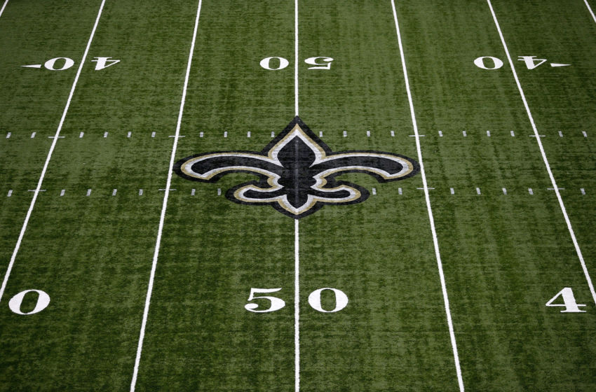 NEW ORLEANS, LA - SEPTEMBER 11: The New Orleans Saints logo is seen on the field during a game at Mercedes-Benz Superdome on September 11, 2016 in New Orleans, Louisiana. (Photo by Jonathan Bachman/Getty Images)