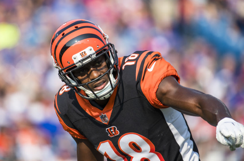 ORCHARD PARK, NY - AUGUST 26: A.J. Green #18 of the Cincinnati Bengals gestures to a referee before a snap during the preseason game against the Buffalo Bills at New Era Field on August 26, 2018 in Orchard Park, New York. Cincinnati defeats Buffalo 26-13 in the preseason matchup. (Photo by Brett Carlsen/Getty Images)