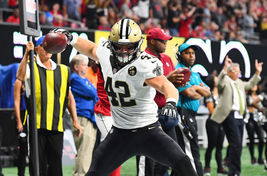 ATLANTA, GA - SEPTEMBER 23: Zach Line #42 of the New Orleans Saints celebrates after scoring a fourth quarter touchdown against the Atlanta Falcons at Mercedes-Benz Stadium on September 23, 2018 in Atlanta, Georgia. (Photo by Scott Cunningham/Getty Images)