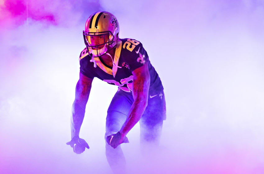 NEW ORLEANS, LA - NOVEMBER 4: P.J. Williams #26 of the New Orleans Saints run out of the tunnel before a game against the Los Angeles Rams at Mercedes-Benz Superdome on November 4, 2018 in New Orleans, Louisiana. The Saints defeated the Rams 45-35. (Photo by Wesley Hitt/Getty Images)