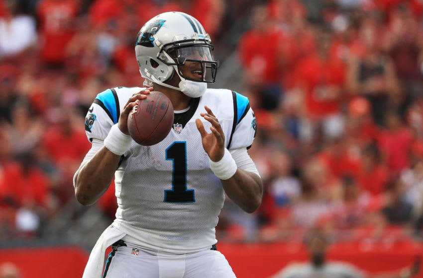 TAMPA, FLORIDA - DECEMBER 02: Cam Newton #1 of the Carolina Panthers drops back to pass during the fourth quarter against the Tampa Bay Buccaneers at Raymond James Stadium on December 02, 2018 in Tampa, Florida. (Photo by Mike Ehrmann/Getty Images)