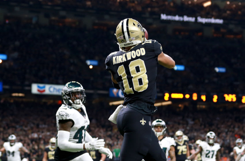 NEW ORLEANS, LOUISIANA - JANUARY 13: Keith Kirkwood #18 of the New Orleans Saints catches a second quarter touchdown against the Philadelphia Eagles in the NFC Divisional Playoff Game at Mercedes Benz Superdome on January 13, 2019 in New Orleans, Louisiana. (Photo by Sean Gardner/Getty Images)