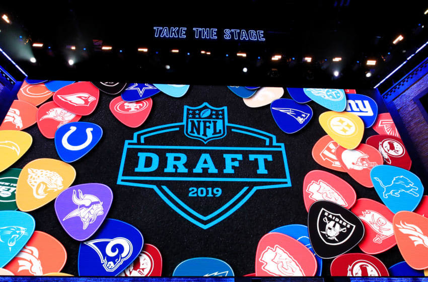 NASHVILLE, TENNESSEE - APRIL 25: A general view of video board signage during the first round of the 2019 NFL Draft on April 25, 2019 in Nashville, Tennessee. (Photo by Andy Lyons/Getty Images)
