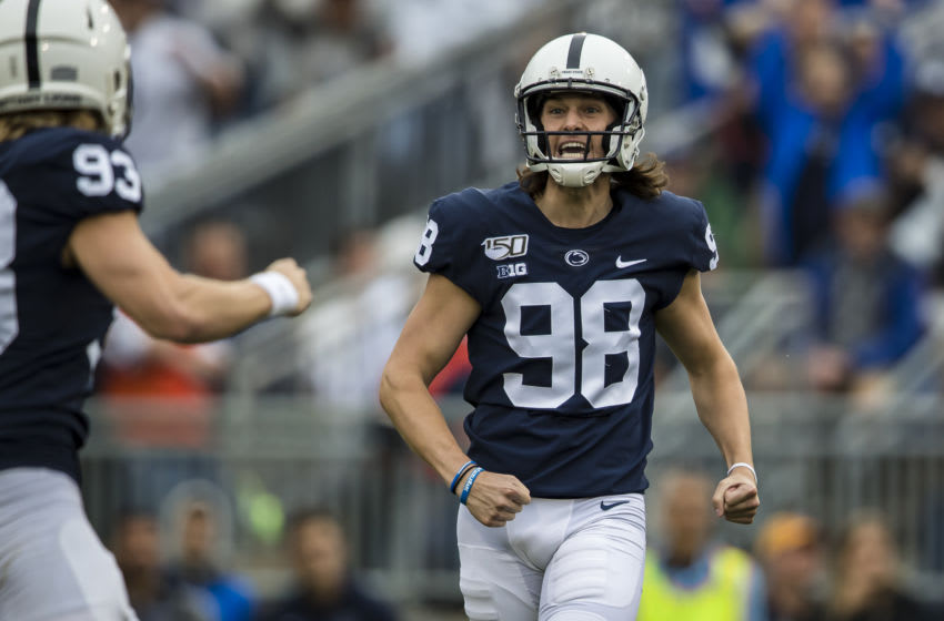 STATE COLLEGE, PA - SEPTEMBER 14: Jordan Stout #98 of the Penn State Nittany Lions celebrates with Blake Gillikin #93 of the Penn State Nittany Lions after kicking the longest field goal in school history against the Pittsburgh Panthers during the first half at Beaver Stadium on September 14, 2019 in State College, Pennsylvania. (Photo by Scott Taetsch/Getty Images)