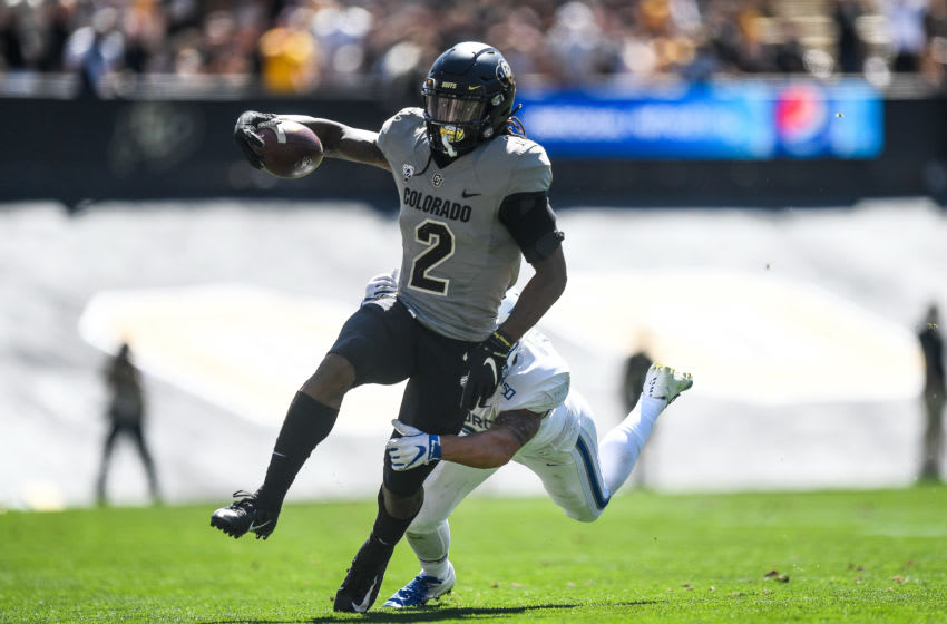 BOULDER, CO - SEPTEMBER 14: Wide receiver Laviska Shenault Jr. #2 of the Colorado Buffaloes runs for a first down against the Air Force Falcons in the fourth quarter of a game at Folsom Field on September 14, 2019 in Boulder, Colorado. (Photo by Dustin Bradford/Getty Images)