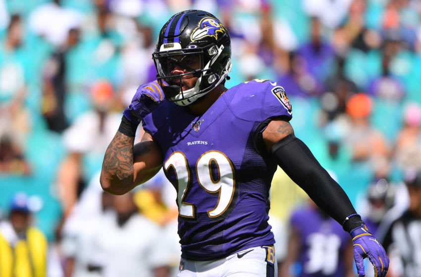 MIAMI, FLORIDA - SEPTEMBER 08: Earl Thomas #29 of the Baltimore Ravens in action against the Miami Dolphins at Hard Rock Stadium on September 08, 2019 in Miami, Florida. (Photo by Mark Brown/Getty Images)