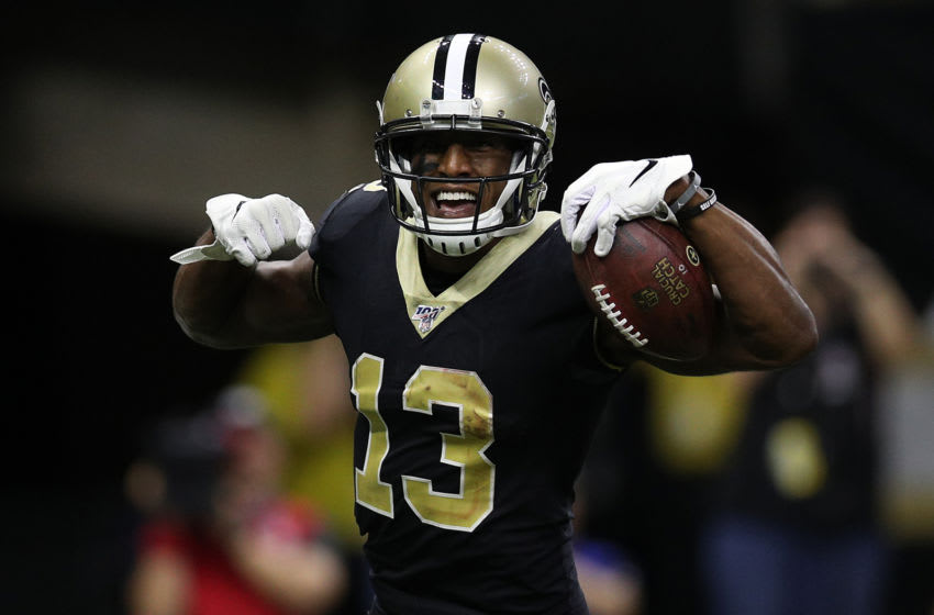 NEW ORLEANS, LOUISIANA - OCTOBER 06: Michael Thomas #13 of the New Orleans Saints reacts after scoring a touchdown against the Tampa Bay Buccaneers at Mercedes Benz Superdome on October 06, 2019 in New Orleans, Louisiana. (Photo by Chris Graythen/Getty Images)