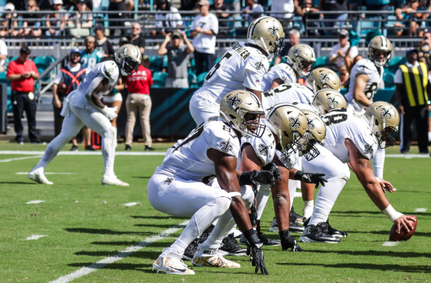 JACKSONVILLE, FLORIDA - OCTOBER 13: The offensive line of the New Orleans Saints in the 3rd quarter against the Jacksonville Jaguars at TIAA Bank Field on October 13, 2019 in Jacksonville, Florida. (Photo by Harry Aaron/Getty Images)
