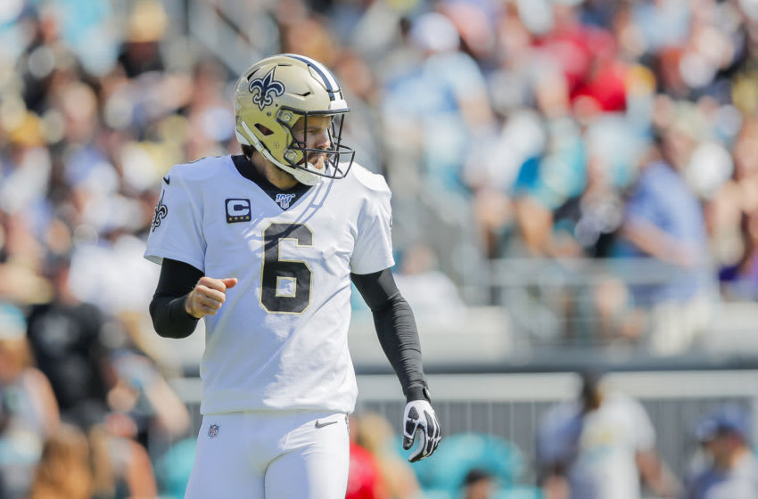 JACKSONVILLE, FLORIDA - OCTOBER 13: Thomas Morstead #6 of the New Orleans Saints looks on during the second quarter of a game against the Jacksonville Jaguars at TIAA Bank Field on October 13, 2019 in Jacksonville, Florida. (Photo by James Gilbert/Getty Images)