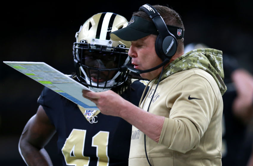NEW ORLEANS, LOUISIANA - NOVEMBER 10: Head coach Sean Payton of New Orleans Saints calls a play during a NFL game against the Atlanta Falconsat the Mercedes Benz Superdome on November 10, 2019 in New Orleans, Louisiana. (Photo by Sean Gardner/Getty Images)