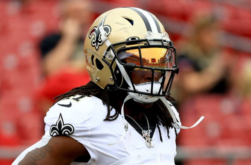 TAMPA, FLORIDA - NOVEMBER 17: Running back Alvin Kamara #41 of the New Orleans Saints warms up prior to their game against the Tampa Bay Buccaneers at Raymond James Stadium on November 17, 2019 in Tampa, Florida. (Photo by Mike Ehrmann/Getty Images)