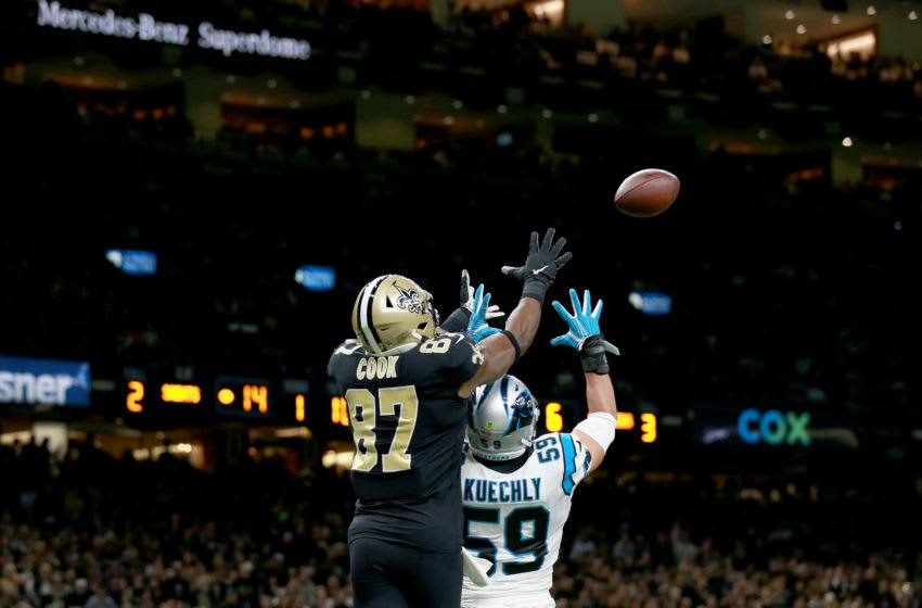 NEW ORLEANS, LOUISIANA - NOVEMBER 24: Jared Cook #87 of the New Orleans Saints celebrates after scoring a 20 yard touchdown against the Carolina Panthers during the third quarter in the game at Mercedes Benz Superdome on November 24, 2019 in New Orleans, Louisiana. (Photo by Sean Gardner/Getty Images)