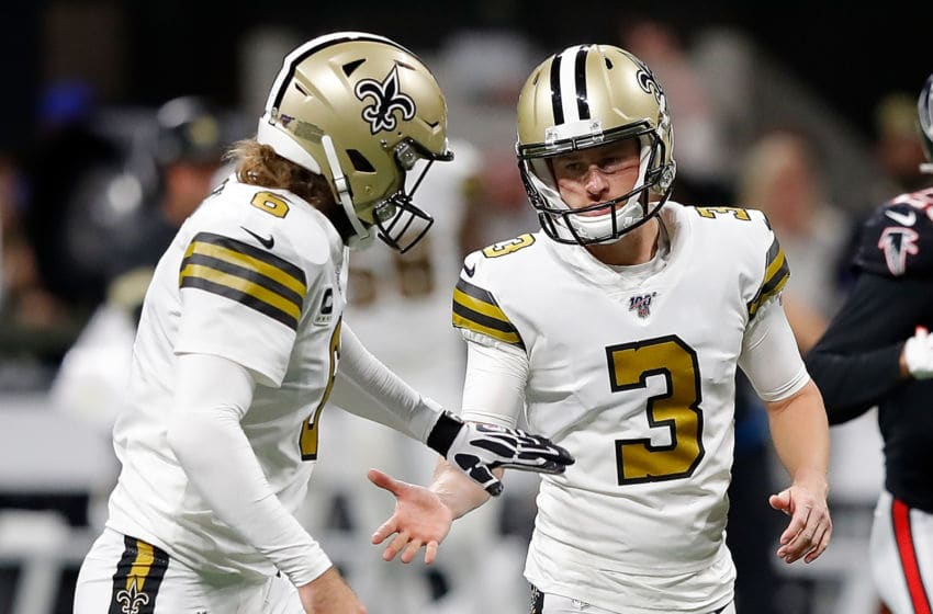 ATLANTA, GEORGIA - NOVEMBER 28: Wil Lutz #3 of the New Orleans Saints reacts after kicking a field goal in the second half against the Atlanta Falcons with Thomas Morstead #6 at Mercedes-Benz Stadium on November 28, 2019 in Atlanta, Georgia. (Photo by Kevin C. Cox/Getty Images)