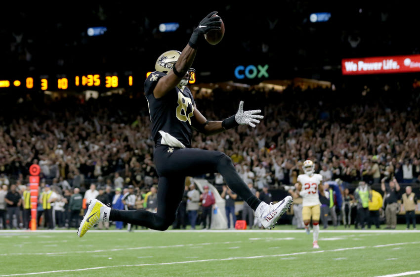 NEW ORLEANS, LOUISIANA - DECEMBER 08: Jared Cook #87 of the New Orleans Saints celebrates as he scores a 38 yard touchdown against the San Francisco 49ers during the first quarter in the game at Mercedes Benz Superdome on December 08, 2019 in New Orleans, Louisiana. (Photo by Jonathan Bachman/Getty Images)