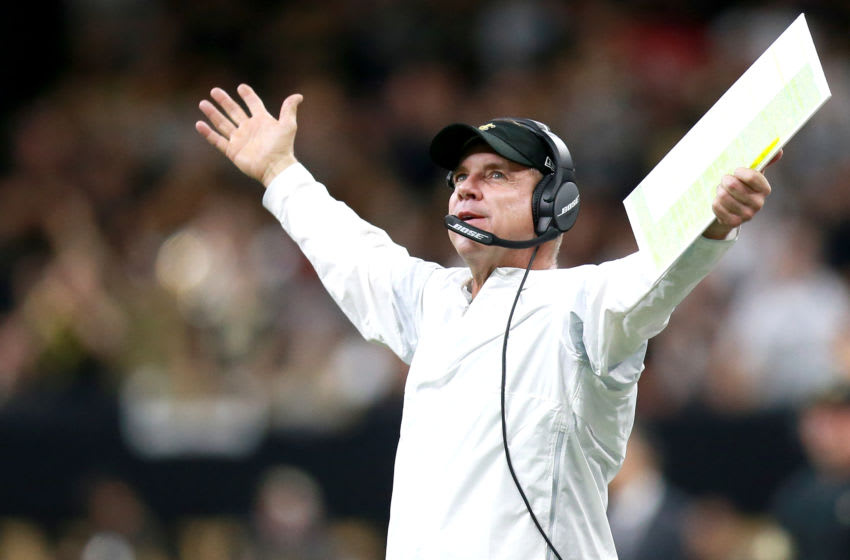 NEW ORLEANS, LOUISIANA - DECEMBER 08: Head coach Sean Payton of the New Orleans Saints reacts to a call during a NFL game against the San Francisco 49ers at the Mercedes Benz Superdome on December 08, 2019 in New Orleans, Louisiana. (Photo by Sean Gardner/Getty Images)