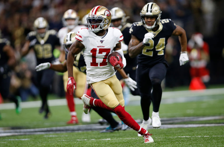 NEW ORLEANS, LA - DECEMBER 8: Emmanuel Sanders #17 of the San Francisco 49ers runs after making a reception during the game against the New Orleans Saints at the Mercedes-Benz Superdome on December 8, 2019 in New Orleans, Louisiana. The 49ers defeated the Saints 48-46. (Photo by Michael Zagaris/San Francisco 49ers/Getty Images)