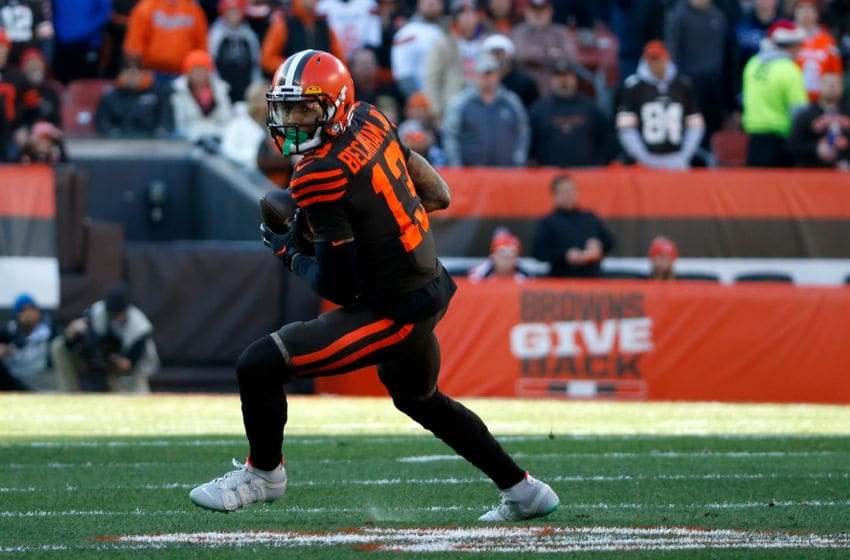 CLEVELAND, OH - DECEMBER 22: Odell Beckham Jr. #13 of the Cleveland Browns catches a pass during the game against the Baltimore Ravens at FirstEnergy Stadium on December 22, 2019 in Cleveland, Ohio. Baltimore defeated Cleveland 31-15. (Photo by Kirk Irwin/Getty Images)