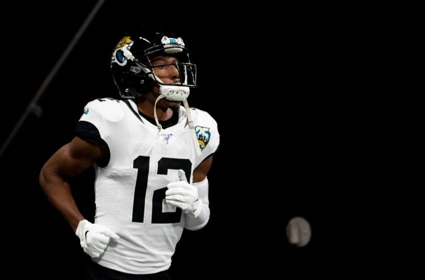 ATLANTA, GA - DECEMBER 22: Dede Westbrook #12 of the Jacksonville Jaguars takes the field prior to a game against the Atlanta Falcons at Mercedes-Benz Stadium on December 22, 2019 in Atlanta, Georgia. (Photo by Carmen Mandato/Getty Images)