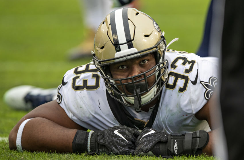 NASHVILLE, TN - DECEMBER 22: David Onyemata #93 of the New Orleans Saints poses for the camera after making a tackle during a game against the Tennessee Titans at Nissan Stadium on December 22, 2019 in Nashville, Tennessee. The Saints defeated the Titans 38-28. (Photo by Wesley Hitt/Getty Images)