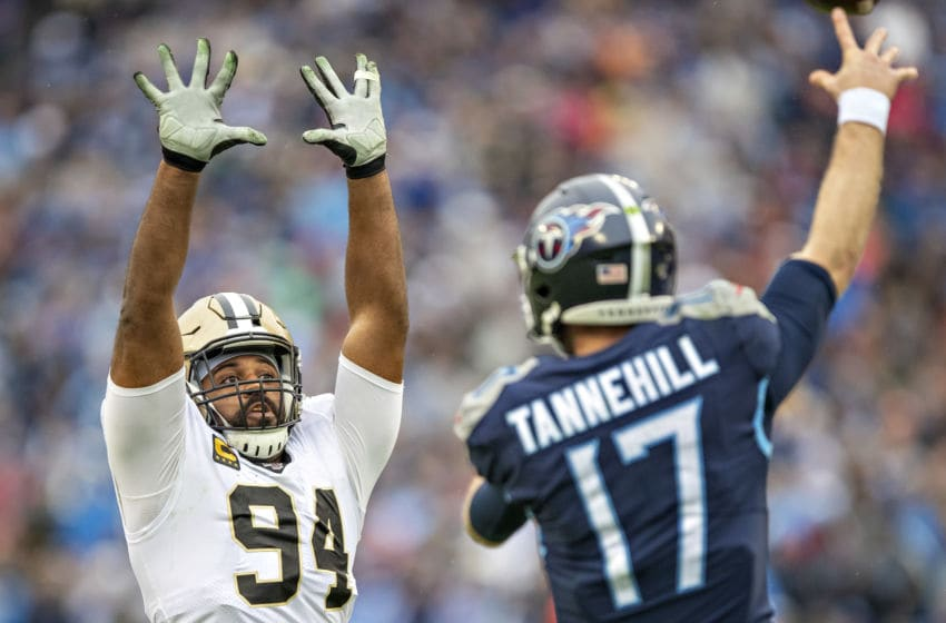 NASHVILLE, TN - DECEMBER 22: Cameron Jordan #94 of the New Orleans Saints jumps in the air to block a pass during a game against the Tennessee Titans at Nissan Stadium on December 22, 2019 in Nashville, Tennessee. The Saints defeated the Titans 38-28. (Photo by Wesley Hitt/Getty Images)