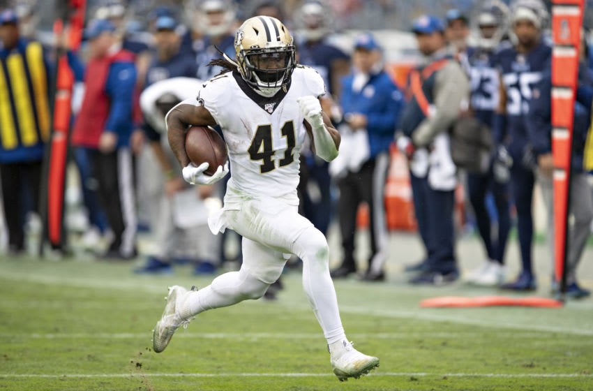 NASHVILLE, TN - DECEMBER 22: Alvin Kamara #41 of the New Orleans Saints runs the ball during a game against the Tennessee Titans at Nissan Stadium on December 22, 2019 in Nashville, Tennessee. The Saints defeated the Titans 38-28. (Photo by Wesley Hitt/Getty Images)