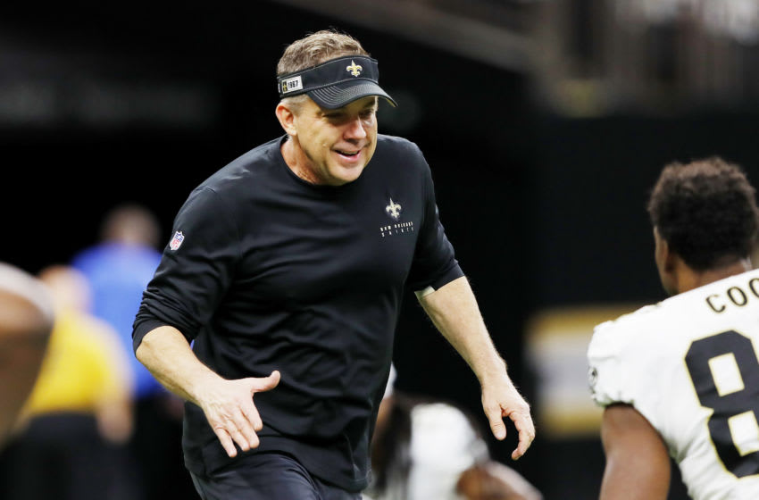 NEW ORLEANS, LOUISIANA - JANUARY 05: Head coach Sean Payton of the New Orleans Saints reacts on the field before the NFC Wild Card Playoff game against the Minnesota Vikings at Mercedes Benz Superdome on January 05, 2020 in New Orleans, Louisiana. (Photo by Kevin C. Cox/Getty Images)