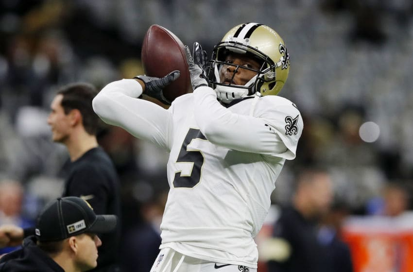 NEW ORLEANS, LOUISIANA - JANUARY 05: Teddy Bridgewater #5 of the New Orleans Saints warms up before the NFC Wild Card Playoff game against the Minnesota Vikings at Mercedes Benz Superdome on January 05, 2020 in New Orleans, Louisiana. (Photo by Kevin C. Cox/Getty Images)