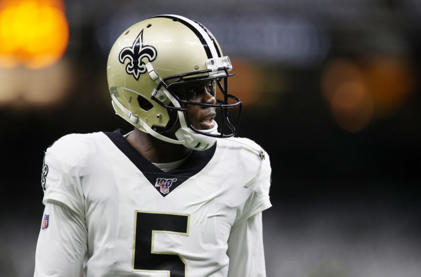 NEW ORLEANS, LOUISIANA - JANUARY 05: Teddy Bridgewater #5 of the New Orleans Saints warms up before the NFC Wild Card Playoff game against the Minnesota Vikings at Mercedes Benz Superdome on January 05, 2020 in New Orleans, Louisiana. (Photo by Chris Graythen/Getty Images)