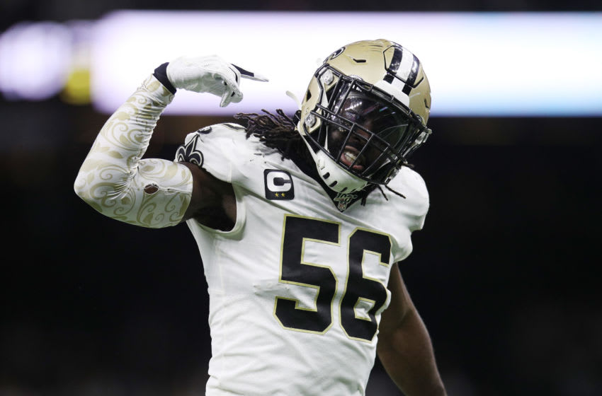NEW ORLEANS, LOUISIANA - JANUARY 05: Demario Davis #56 of the New Orleans Saints reacts after a stop on third down during the second half against the Minnesota Vikings in the NFC Wild Card Playoff game at Mercedes Benz Superdome on January 05, 2020 in New Orleans, Louisiana. (Photo by Chris Graythen/Getty Images)
