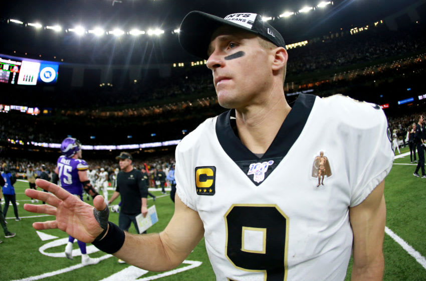 NEW ORLEANS, LOUISIANA - JANUARY 05: Drew Brees #9 of the New Orleans Saints looks on after losing in the NFC Wild Card Playoff game against the Minnesota Vikings at Mercedes Benz Superdome on January 05, 2020 in New Orleans, Louisiana. (Photo by Sean Gardner/Getty Images)