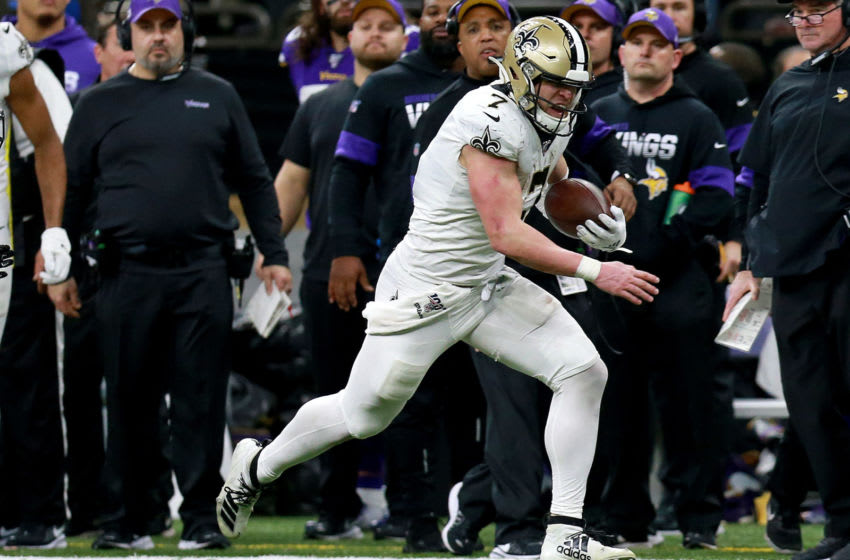NEW ORLEANS, LOUISIANA - JANUARY 05: Taysom Hill #7 of the New Orleans Saints runs after a catch in the NFC Wild Card Playoff game against the Minnesota Vikingsat Mercedes Benz Superdome on January 05, 2020 in New Orleans, Louisiana. (Photo by Sean Gardner/Getty Images)