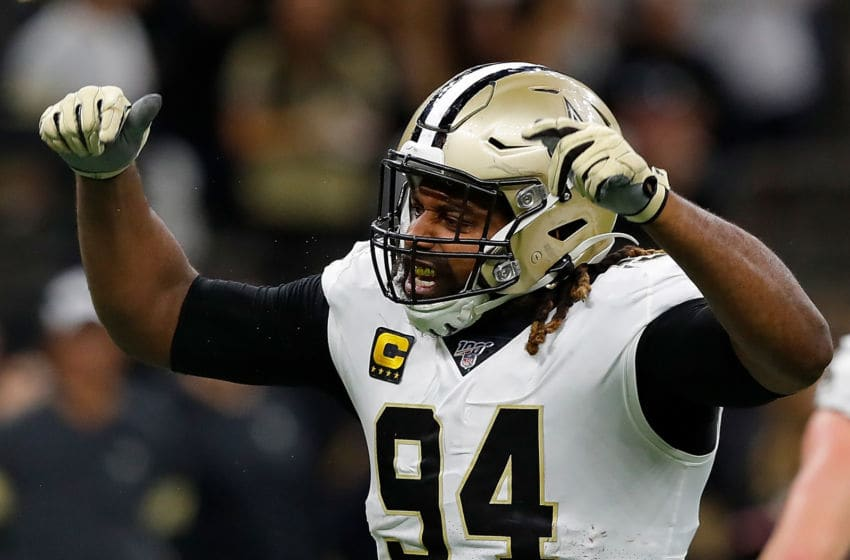 NEW ORLEANS, LOUISIANA - JANUARY 05: Cameron Jordan #94 of the New Orleans Saints celebrates after a sack during the fourth quarter against the Minnesota Vikings in the NFC Wild Card Playoff game at Mercedes Benz Superdome on January 05, 2020 in New Orleans, Louisiana. (Photo by Kevin C. Cox/Getty Images)