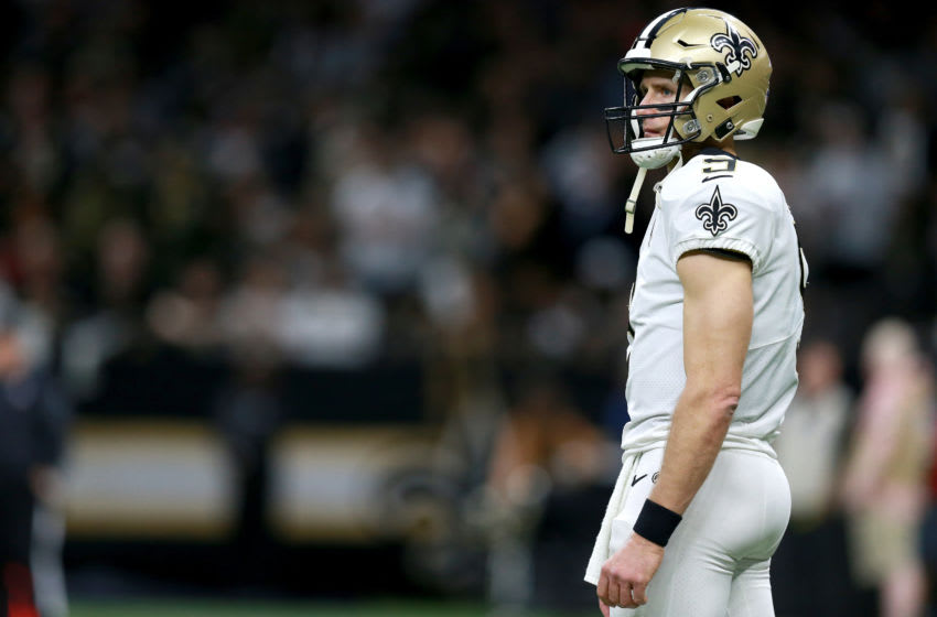 NEW ORLEANS, LOUISIANA - JANUARY 05: Drew Brees #9 of the New Orleans Saints stands on the field during the NFC Wild Card Playoff game against the Minnesota Vikings at Mercedes Benz Superdome on January 05, 2020 in New Orleans, Louisiana. (Photo by Sean Gardner/Getty Images)