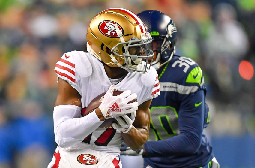 SEATTLE, WASHINGTON - DECEMBER 29: Emmanuel Sanders #17 of the San Francisco 49ers catches a pass against Bradley McDougald #30 of the Seattle Seahawks during the first quarter of the game at CenturyLink Field on December 29, 2019 in Seattle, Washington. The San Francisco 49ers top the Seattle Seahawks 26-21. (Photo by Alika Jenner/Getty Images)