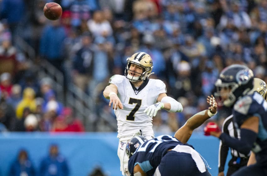 NASHVILLE, TN - DECEMBER 22: Taysom Hill #7 of the New Orleans Saints passes the ball during the fourth quarter against the Tennessee Titans at Nissan Stadium on December 22, 2019 in Nashville, Tennessee. New Orleans defeats Tennessee 38-28. (Photo by Brett Carlsen/Getty Images)