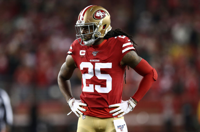 SANTA CLARA, CALIFORNIA - JANUARY 19: Richard Sherman #25 of the San Francisco 49ers stands on the field against the Green Bay Packers during the NFC Championship game at Levi's Stadium on January 19, 2020 in Santa Clara, California. (Photo by Ezra Shaw/Getty Images)