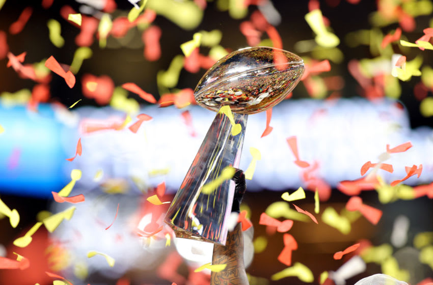 MIAMI, FLORIDA - FEBRUARY 02: A general view of the Vince Lombardi Trophy after the Kansas City Chiefs defeat the San Francisco 49ers 31-20 in Super Bowl LIV at Hard Rock Stadium on February 02, 2020 in Miami, Florida. (Photo by Kevin C. Cox/Getty Images)