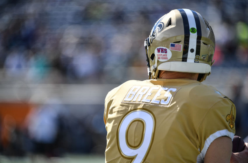 ORLANDO, FLORIDA - JANUARY 26: A detailed view of the high school decal on the helmet of Drew Brees #9 of the New Orleans Saints warming up prior to the 2020 NFL Pro Bowl at Camping World Stadium on January 26, 2020 in Orlando, Florida. (Photo by Mark Brown/Getty Images)