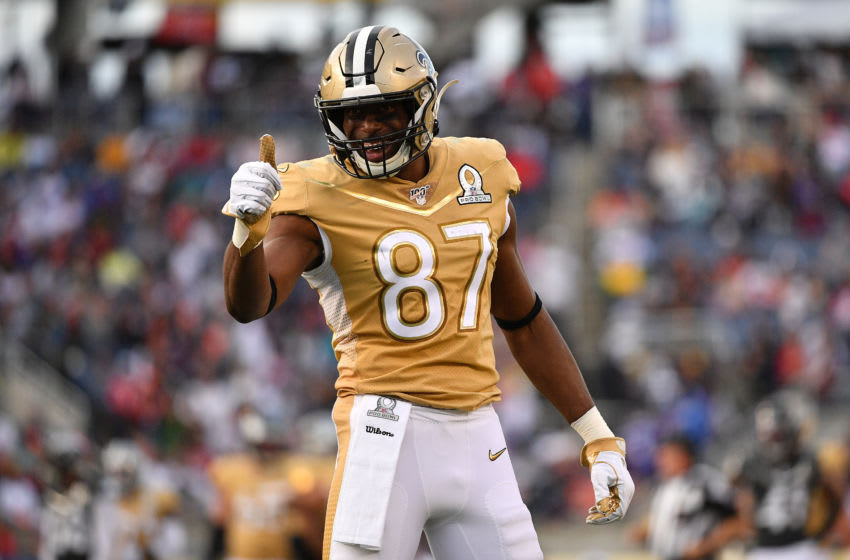 ORLANDO, FLORIDA - JANUARY 26: Jared Cook #87 of the New Orleans Saints gestures towards the fans during the 2020 NFL Pro Bowl at Camping World Stadium on January 26, 2020 in Orlando, Florida. (Photo by Mark Brown/Getty Images)