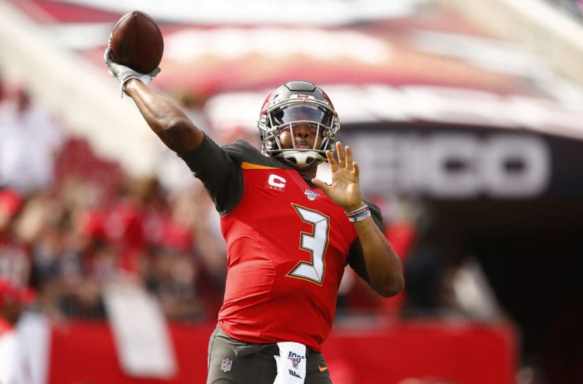 TAMPA, FLORIDA - DECEMBER 29: Jameis Winston #3 of the Tampa Bay Buccaneers warms up prior to the game against the Atlanta Falcons at Raymond James Stadium on December 29, 2019 in Tampa, Florida. (Photo by Michael Reaves/Getty Images)
