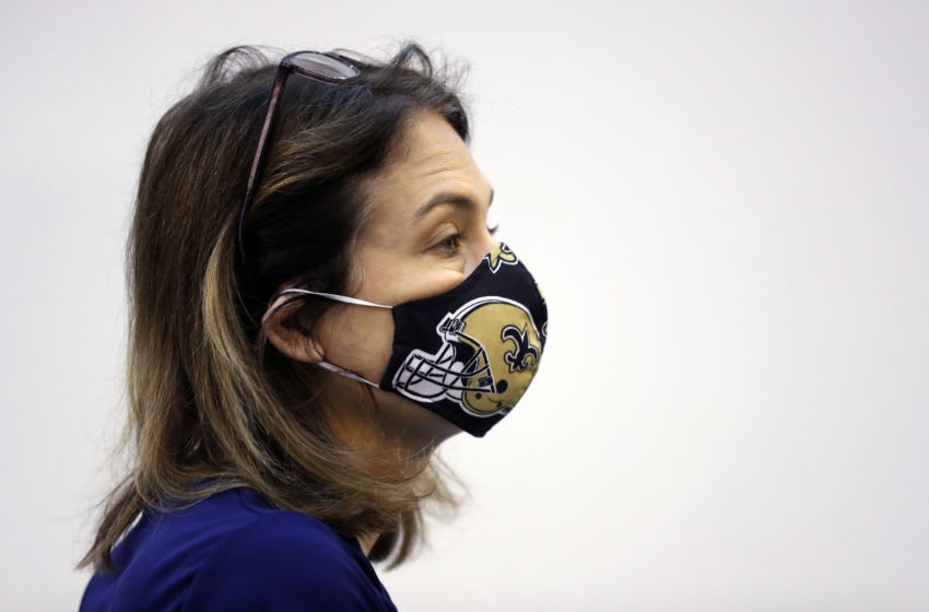 NEW ORLEANS, LOUISIANA - APRIL 04: New Orleans Health Director Dr. Jennifer Avegno wears her face mask with the New Orleans Saints NFL team logo as the media tours the field hospital setup for coronavirus (COVID-19) patients at the Ernest N. Morial Convention Center on April 04, 2020 in New Orleans, Louisiana. The convention center will start taking patients tomorrow with room for 1,000 COVID-19 positive patients to alleviate stress on local hospitals. (Photo by Chris Graythen/Getty Images)