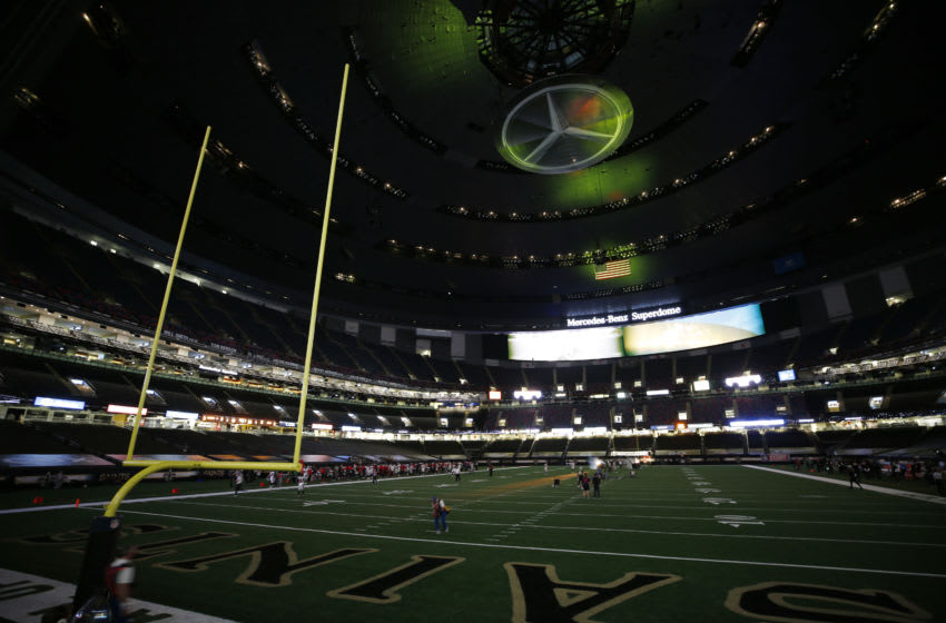 NEW ORLEANS, LOUISIANA - SEPTEMBER 13: An empty stadium is shown during the first quarter during a game between the New Orleans Saints and the Tampa Bay Buccaneers at Mercedes-Benz Superdome on September 13, 2020 in New Orleans, Louisiana. (Photo by Chris Graythen/Getty Images)