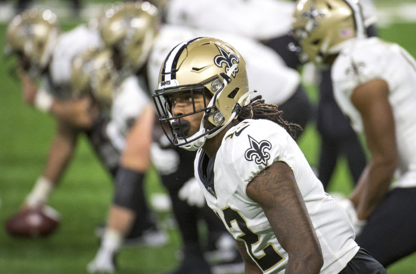 DETROIT, MI - OCTOBER 04: Marquez Callaway #12 of the New Orleans Saints looks on during the fourth quarter against the New Orleans Saints at Ford Field on October 4, 2020 in Detroit, Michigan. (Photo by Nic Antaya/Getty Images)