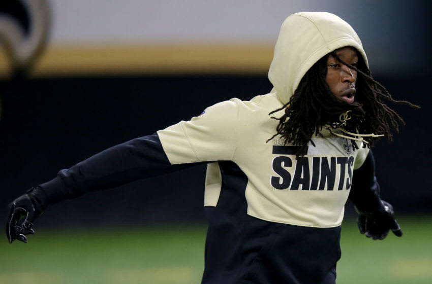 NEW ORLEANS, LOUISIANA - OCTOBER 25: Alvin Kamara #41 of the New Orleans Saints warms up before the game against the Carolina Panthers at Mercedes-Benz Superdome on October 25, 2020 in New Orleans, Louisiana. (Photo by Jonathan Bachman/Getty Images)