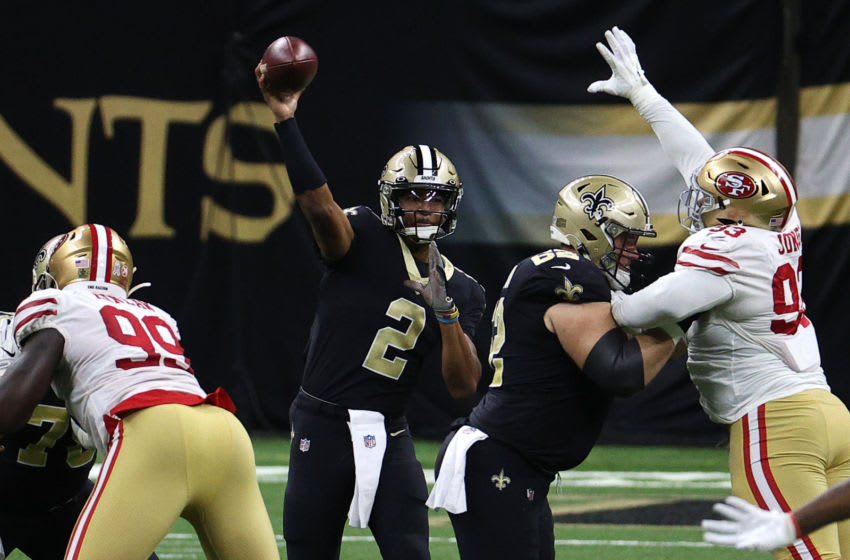 NEW ORLEANS, LOUISIANA - NOVEMBER 15: Jameis Winston #2 of the New Orleans Saints attempts a pass during their game against the San Francisco 49ers at Mercedes-Benz Superdome on November 15, 2020 in New Orleans, Louisiana. (Photo by Chris Graythen/Getty Images)